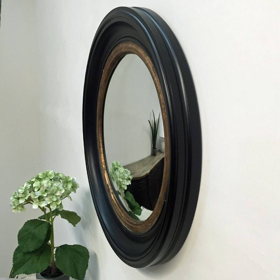 Black & Gold Round Porthole Mirror - Medium - The Farthing