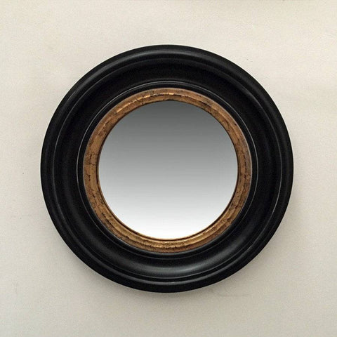 Black & Gold Round Porthole Mirror - Small - The Farthing