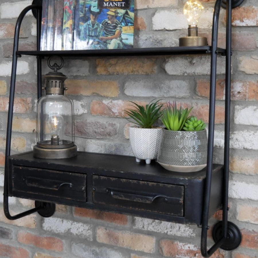Black Metal Industrial Shelf with Drawers | Farthing