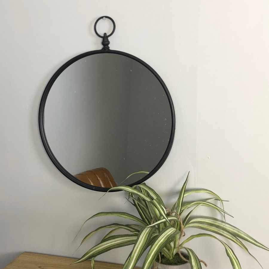 Black Slim Frame looped Top Metal Mirror at the Farthing
