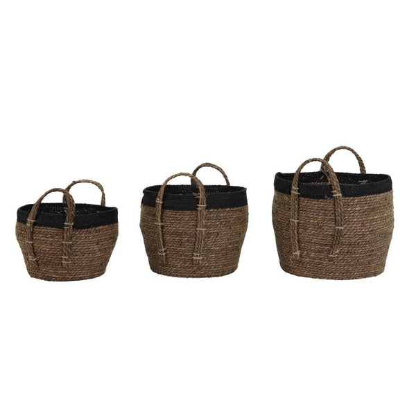 Black & Brown Set of 3 Jute Baskets | The Farthing