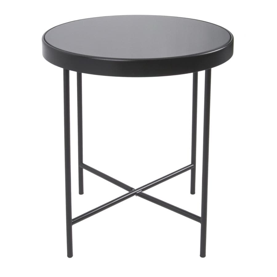 Black Metal Glass Topped Side Table at the Farthing