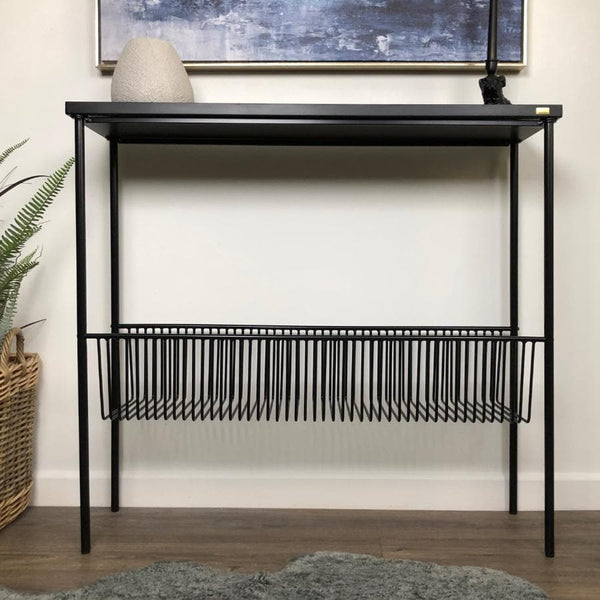 Black Metal Storage Console Table at the Farthing