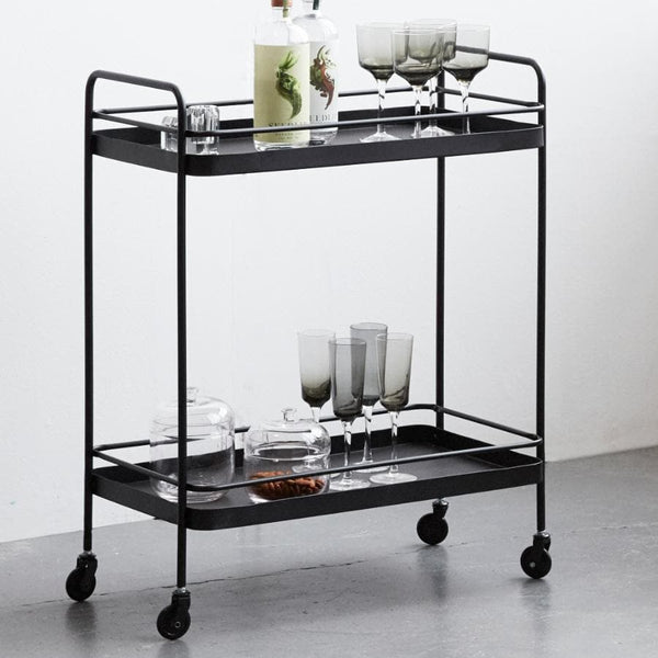 Black Metal Trolley Table at the Farthing
