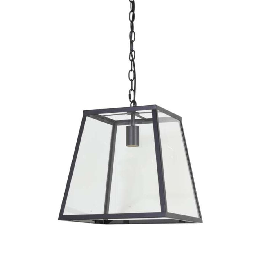 Black Metal and Glass Trapeze Pendant Light at the Farthing