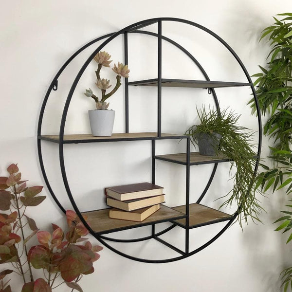 Black Metal and Wood Round Wall Shelving Unit at the Farthing