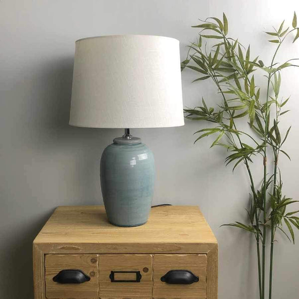 Blue Crackle Glaze Table Lamp & Shade | Farthing 3