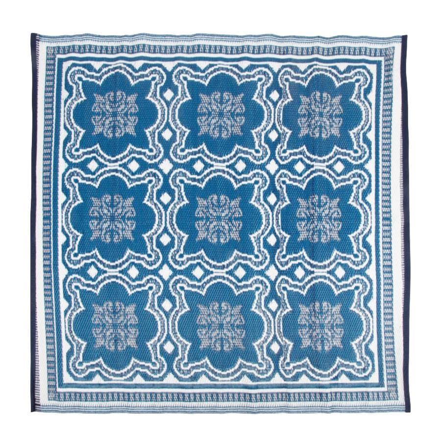 Blue & White Square Outdoor Rug at the Farthing