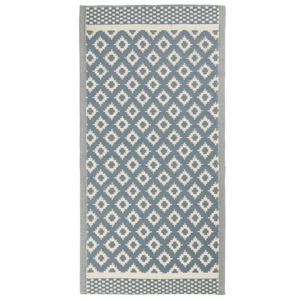 Blue and Cream Marrakech Outdoor Rug at the Farthing