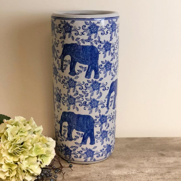 Blue and White Ceramic Umbrella Stand at the Farthing 1