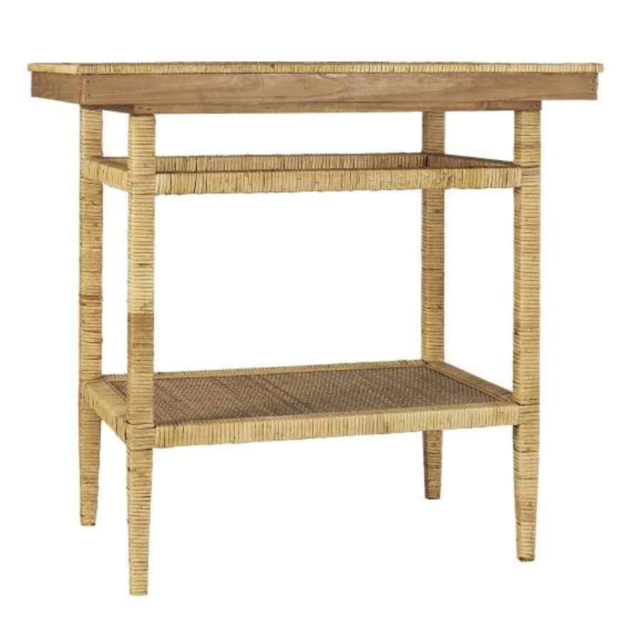 Braided Edge Bamboo and Wood Side Table