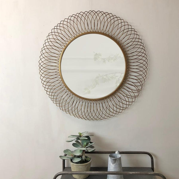 Burnished Gold Gillingham Round Mirror | Farthing