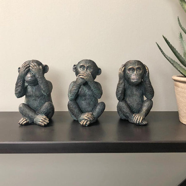 "Distressed ""No Evil"" Monkeys Set 