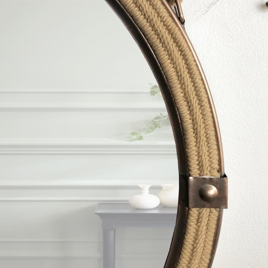 Burnished Copper Round Hanging Rope Mirror 5