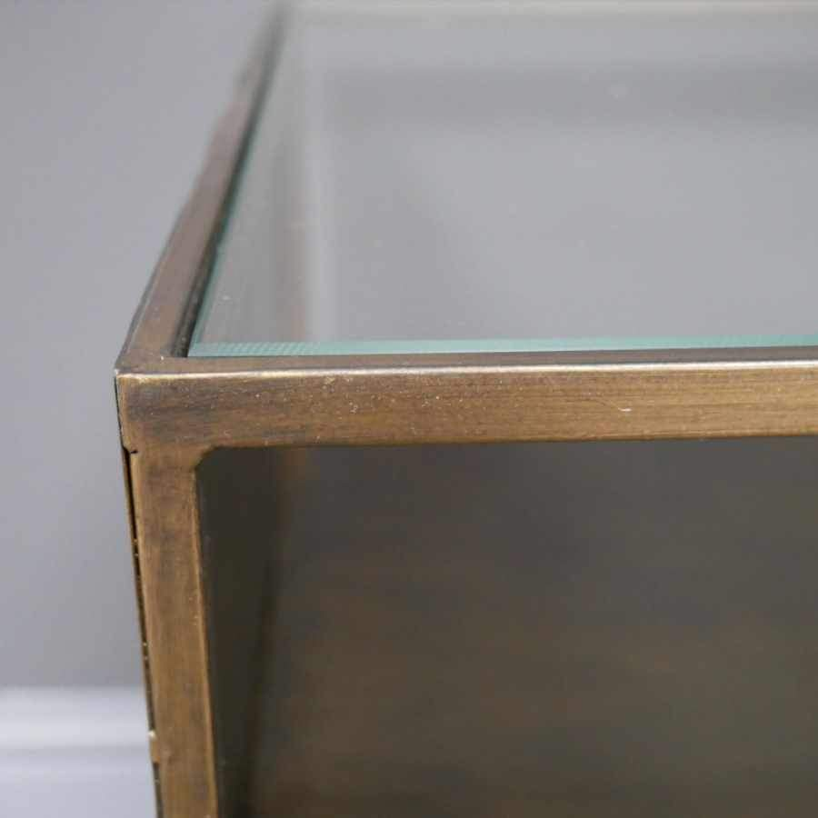 Burnished Metal and Glass Top Coffee Table