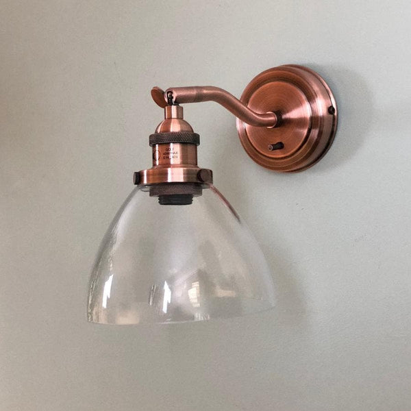 Burnished Copper Glass Wall Light  at the Farthing