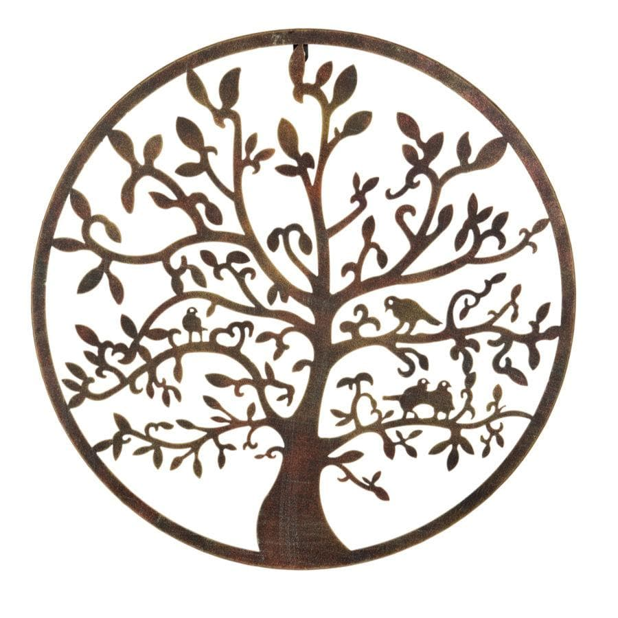 Burnished Gold Garden Metal Wall Art - Oak Tree at the Farthing
