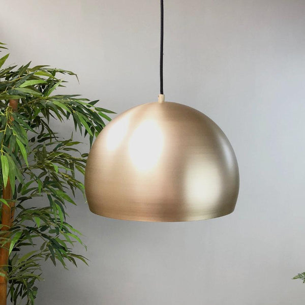 Burnished Golden Metal Pendant Light at the Farthing 1