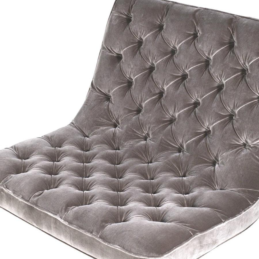 Buttoned Grey Velvet Chair at the Farthing