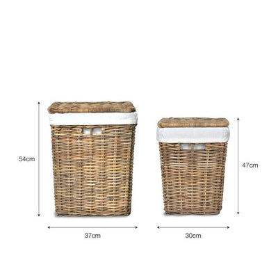 Cadgwith Rattan Laundry Basket Set - The Farthing  - 2