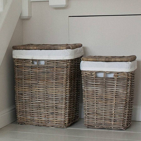 Cadgwith Rattan Laundry Basket Set - The Farthing  - 1