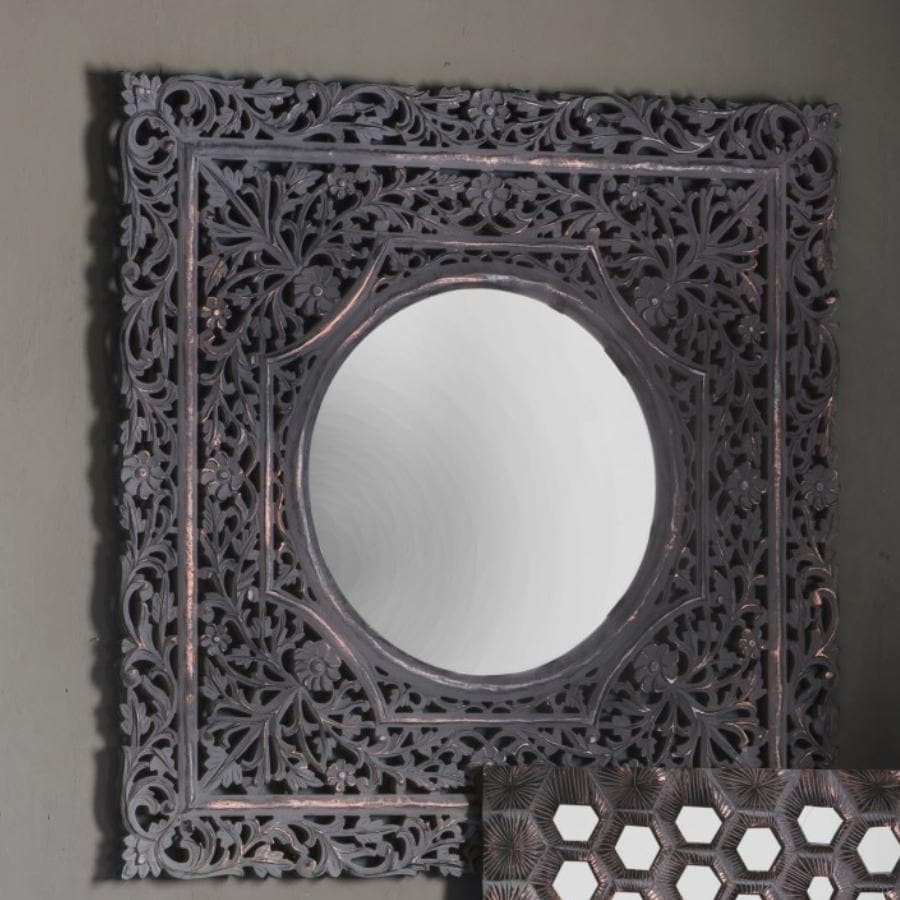 Carved Bohemian Square Wall Mirror at the Farthing