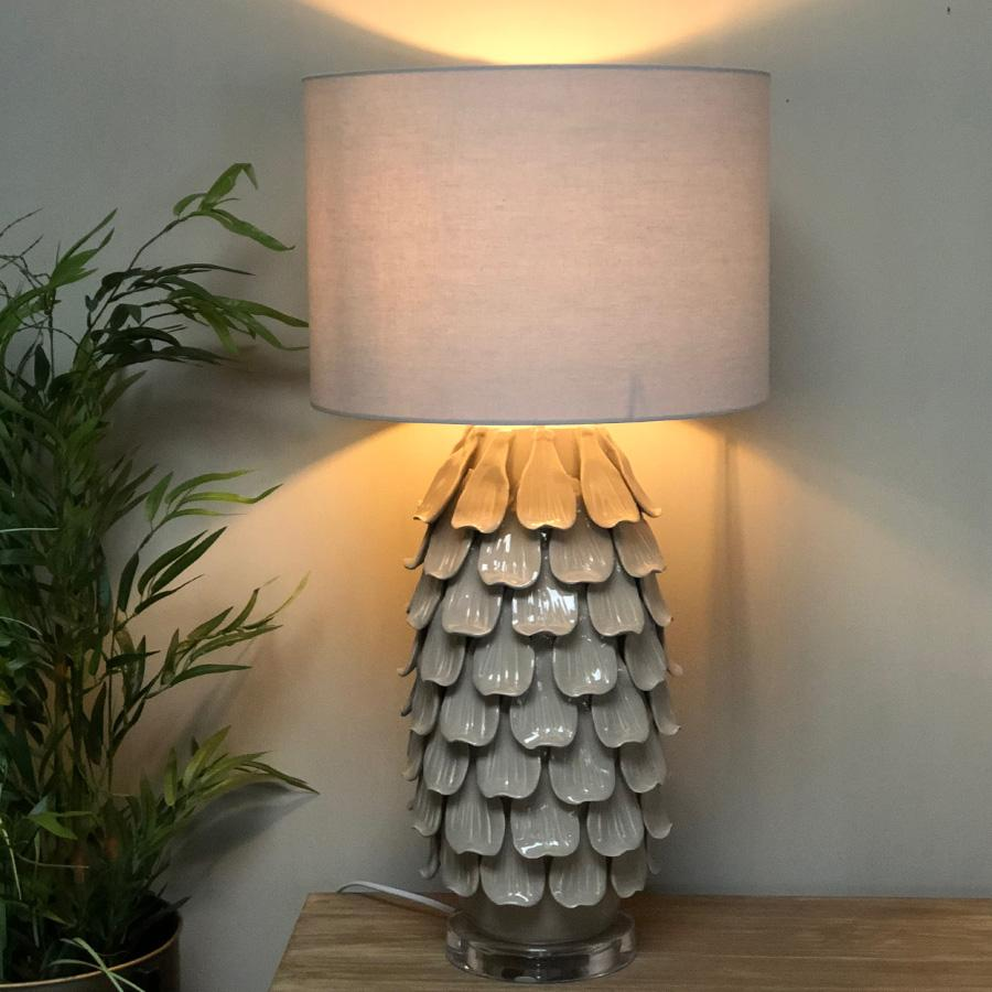 Ceramic Petal Table Lamp & Shade at the Farthing  2