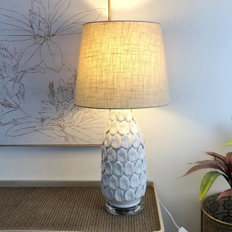 Ceramic Leaves Table Lamp & Shade at the Farthing 1