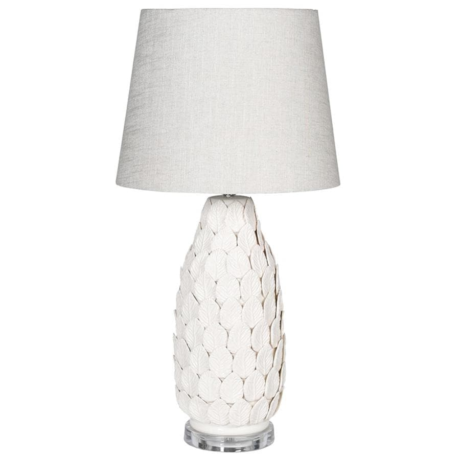 Ceramic Leaves Table Lamp & Shade at the Farthing