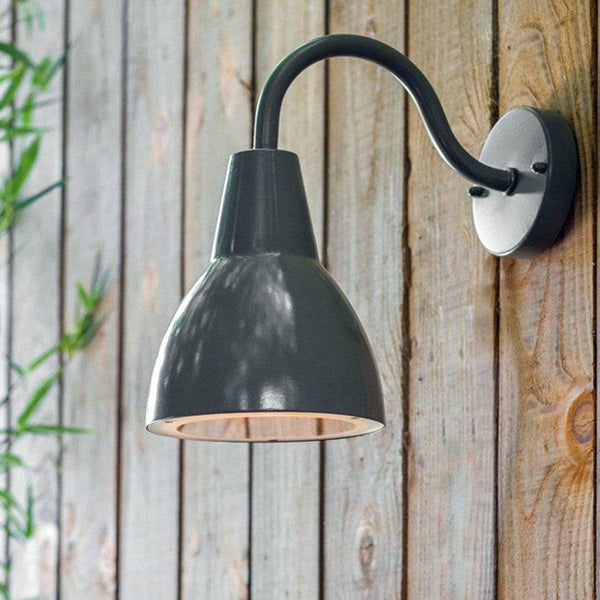 Charcoal Domed Metal Swan Light - The Farthing
