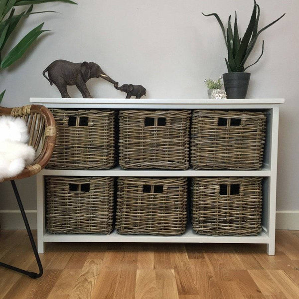 Chic Dorset Storage Unit with Rattan Baskets - The Farthing