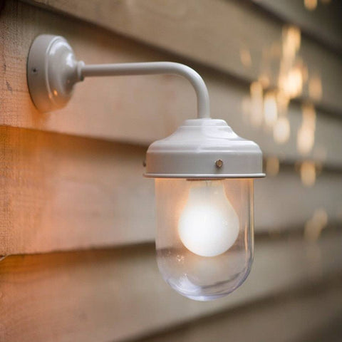 Chic Exterior Metal Barn Wall Light in Clay - The Farthing
