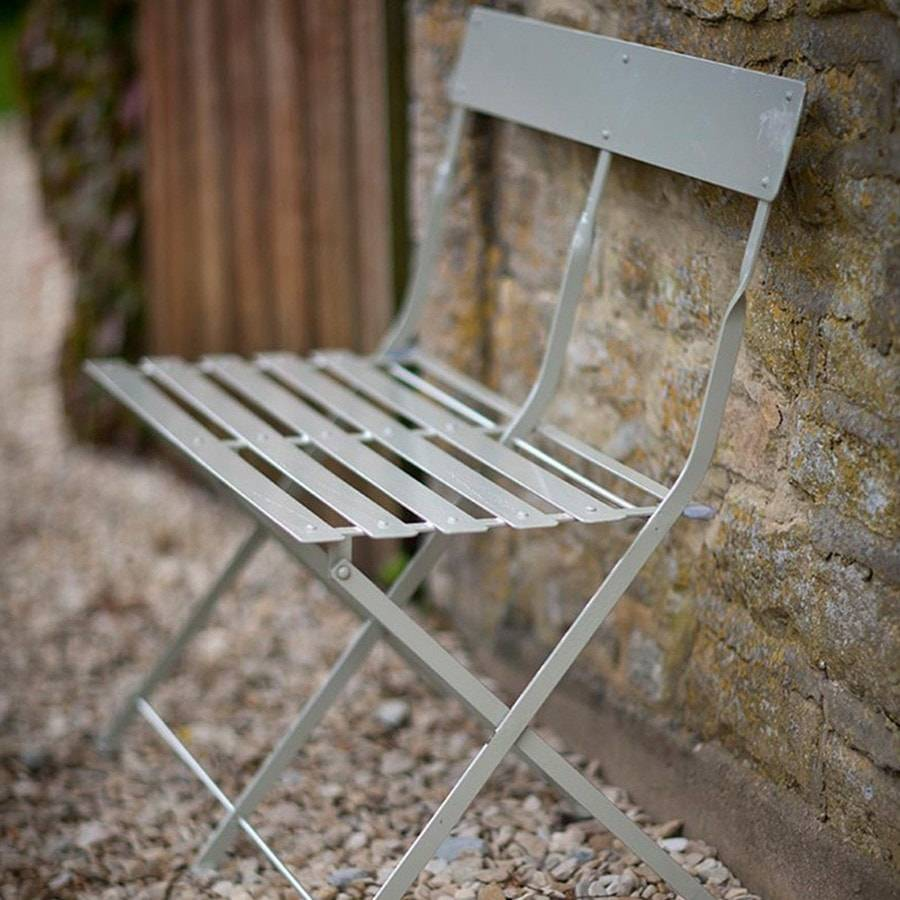 Chic Folding Metal Garden Bistro Bench in Clay - The Farthing - 11