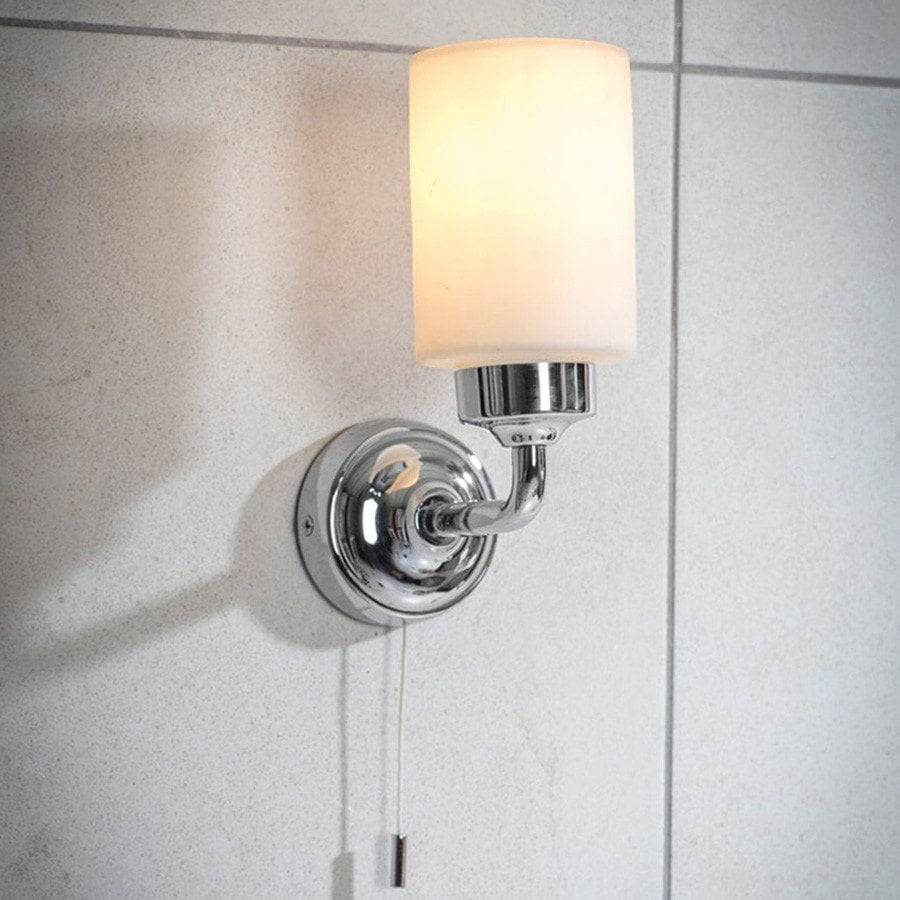 Chic Greenwich Bathroom Wall Light In Chrome - Pull Cord