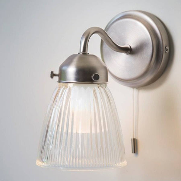 Chic Pimlico Bathroom Wall Light with Glass Shade - pull cord - The Farthing