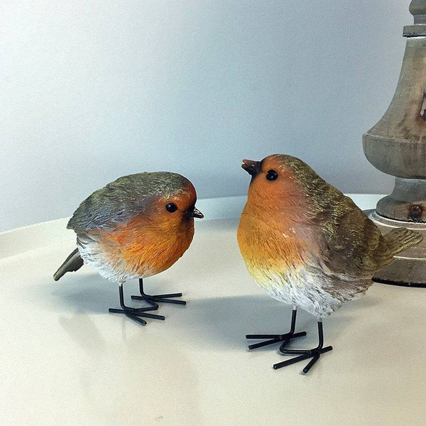Chic Set of Two Robins at the Farthing