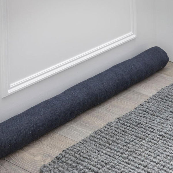 Compton Draught Excluder in Carbon Black - Linen
