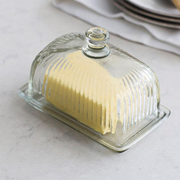 Corn bury Pressed Glass Butter Dish | Farthing