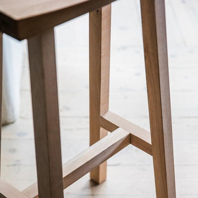 Curved Oak Top Stool - close up