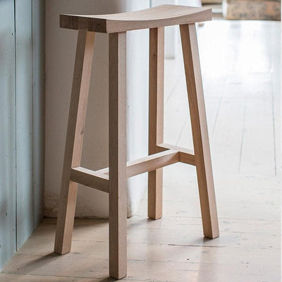 Curved Oak Top Stool - The Farthing