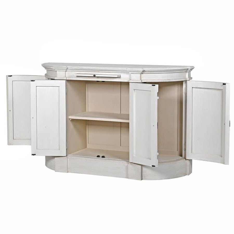 Distressed White Rounded Edge Cabinet