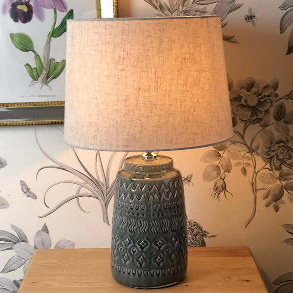 Dark Grey Tora Glazed Table Lamp & Shade at the Farthing