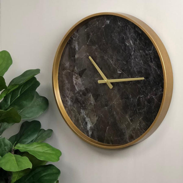 Dark Marble Effect Wall Clock at the Farthing  2