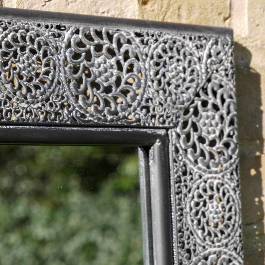 Dark Distressed Filigree Outdoor Wall Mirror