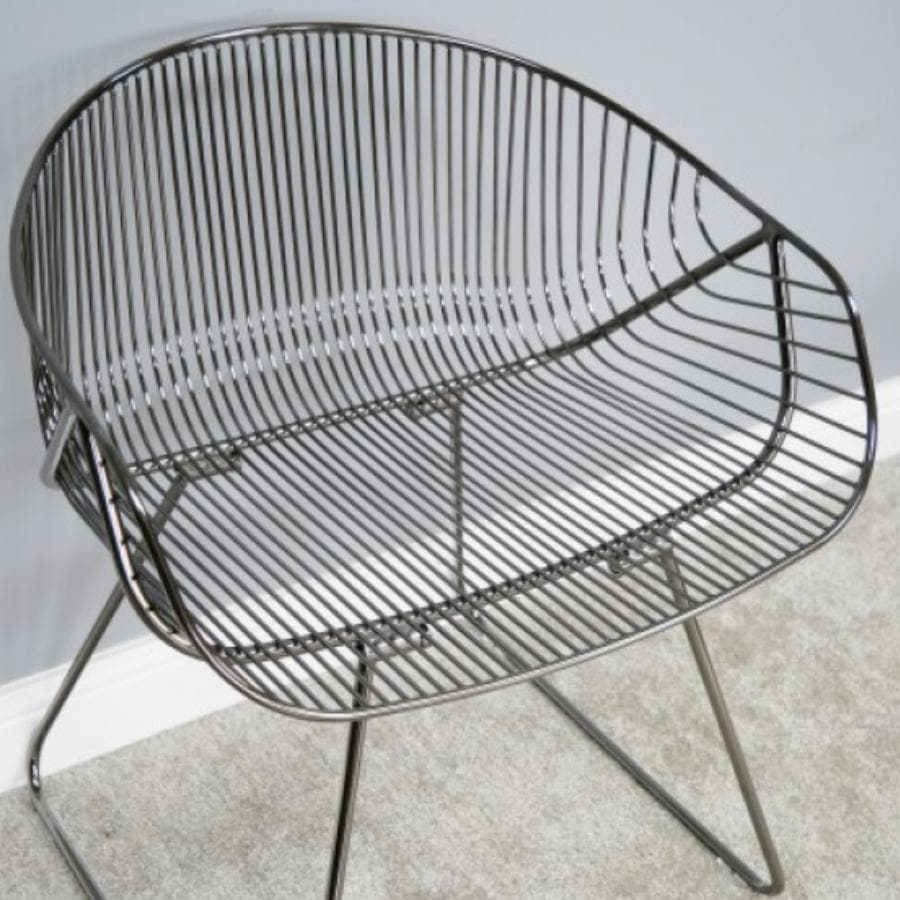 Dark Polished Chrome Industrial Wire Chair