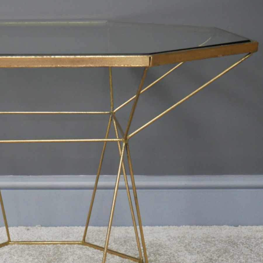 Deco Inspired Gold Table with Glass Top | Farthing
