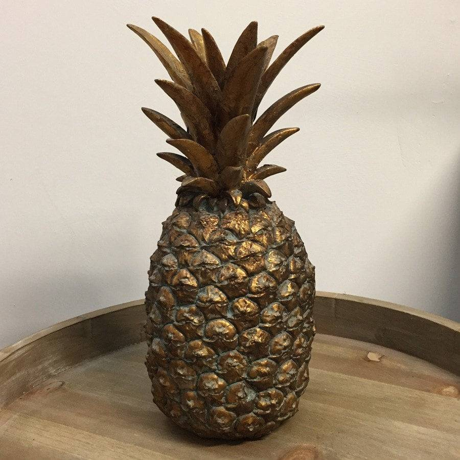 Distressed Gold Pineapple Statue Shabby Chic Ornament