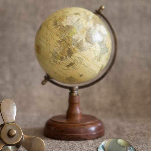 Decorative Wood Base World Globe Ornament