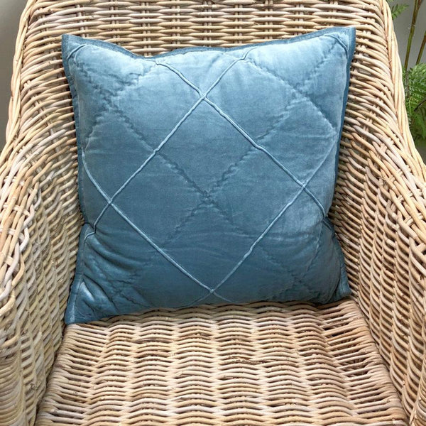 Diamond Soft Blue Velvet Cushion | The Farthing