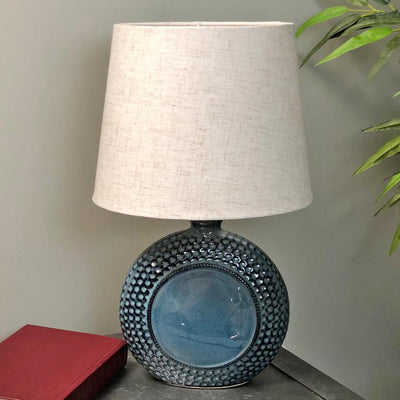 Dimpled Blue Kimmeridge Table Lamp & Shade at the Farthing  2